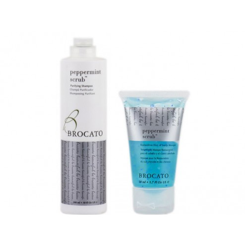 Brocato Peppermint Scrub Purifying Shampoo 10 Oz And Scalp Masque 1.7 Oz