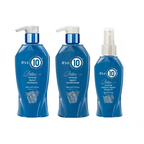 its a 10 potion 10 miracle repair shampoo 10 oz conditioner 10 oz and leave in conditioner 4 oz. Black Bedroom Furniture Sets. Home Design Ideas