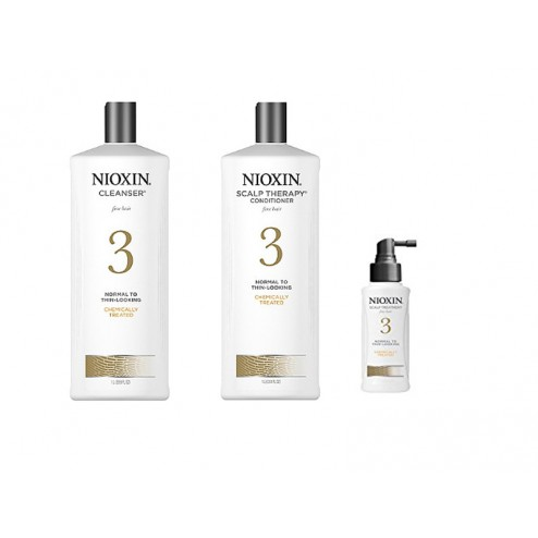 Nioxin System 3 Cleanser 33.8 Oz, Scalp Therapy 33.8 Oz And Scalp Treatment 3.4 Oz