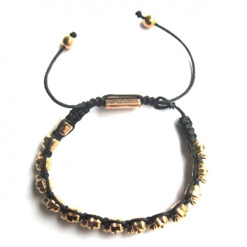 Zirkonmania Vermeil Plated Alloy Skull Beads Bracelet