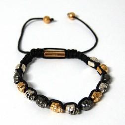 Zirconmania Electroplated Alloy Skull Beads Bracelet