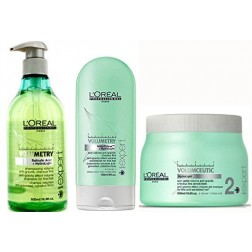 Loreal Volumetry Anti-Gravity Volumizing Shampoo 16.9 Oz, Conditioner 5 Oz And Masque 16.9 Oz