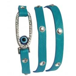 Zirconmania Oval Crystal Leather Bracelet