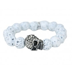 Zirconmania Pave Skull Stretch Bracelet - White