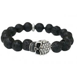 Zirconmania Pave Skull Stretch Bracelet - Black