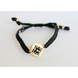 Zirconmania Black Leather Bracelet with Matte Gold Charm