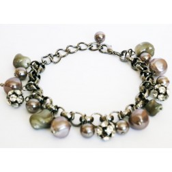 Zirconmania Chain Bracelet with Pearl and Crystal Roundles