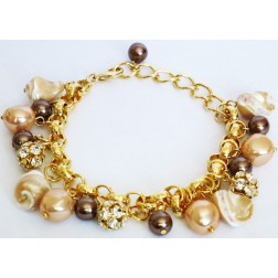 Zirconmania Chain Bracelet with Pearl and Fire Crystal Balls