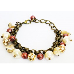 Zirconmania Chain Pearl and Crystal Roundles Bracelet