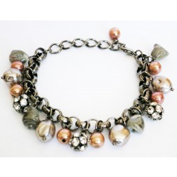 Zirconmania Pearl and Fire Crystal Balls Chain Bracelet