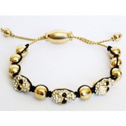 Zirconmania Shamballa Skull Braided Bracelet in Gold