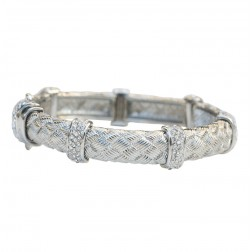 Zirconmania Textured Alloy Bracelet - Rhodium
