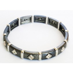 Zirconmania Stretch Two Tone Pave SQ Bracelet - Grey