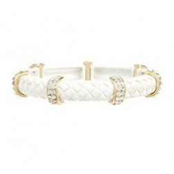 Zirconmania Two Toned Stretch Bracelet - White Gold