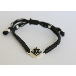Zirconmania Black Leather Bracelet with Matte Charm