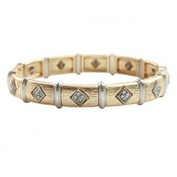 Zirconmania Stretch Two Tone Pave SQ Bracelet - Gold