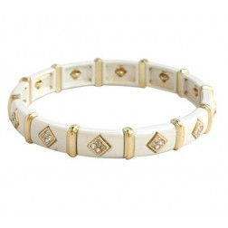 Zirconmania Stretch Two Tone Pave SQ Bracelet - White