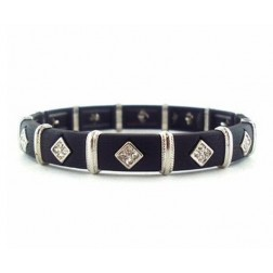 Zirconmania Stretch Two Tone Pave SQ Bracelet - Black