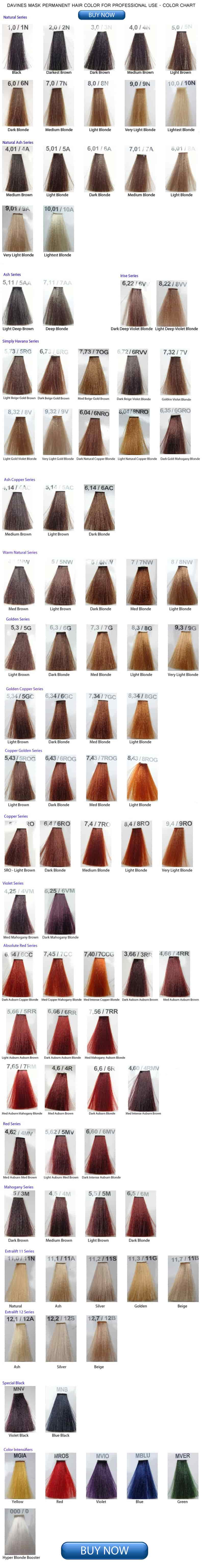 Davines Mask Hair Color Chart